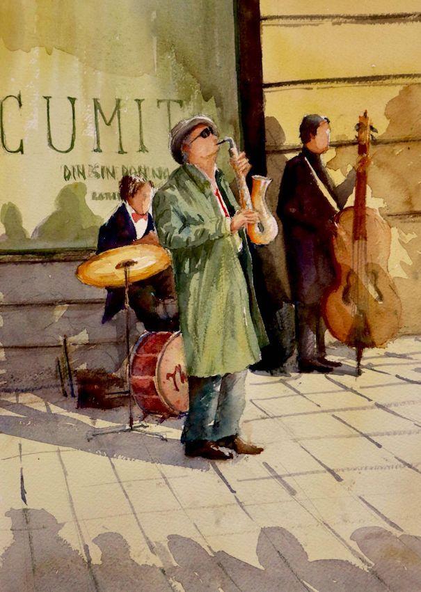 Acuarela Musica de Jazz en la Calle