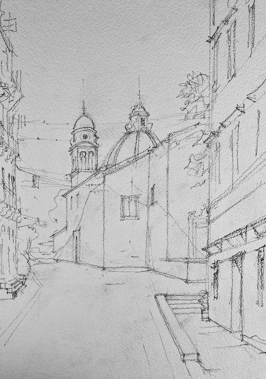 Dibujo acuarela urbano