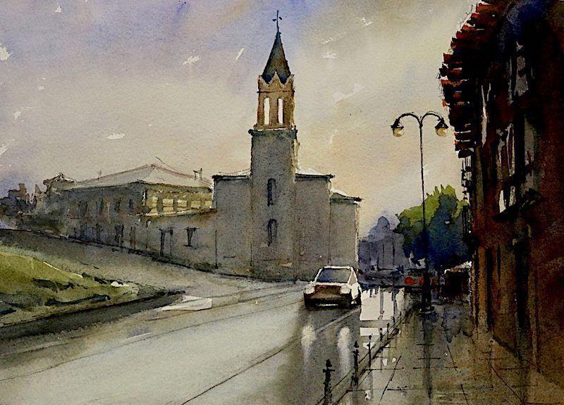 Acuarela Iglesia de San Andrés Ponferrada