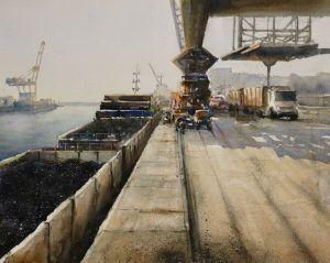 Acuarela Descarga de Carbon en puerto marítimo.